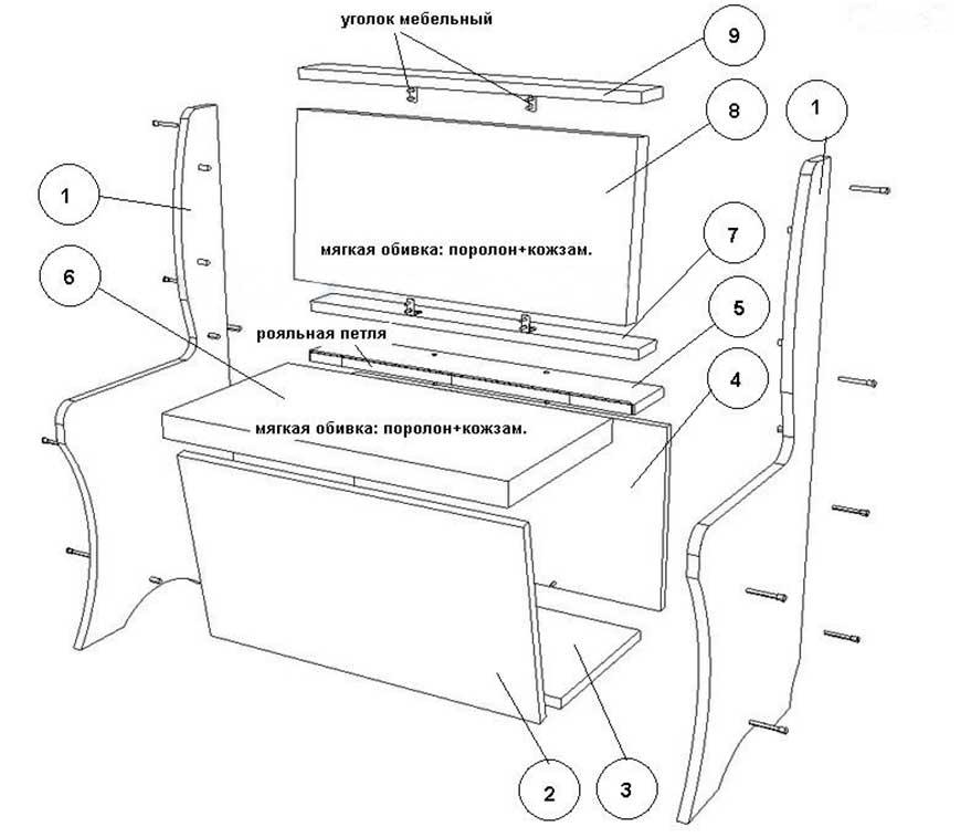 Кухонный уголок своими руками чертежи и схемы