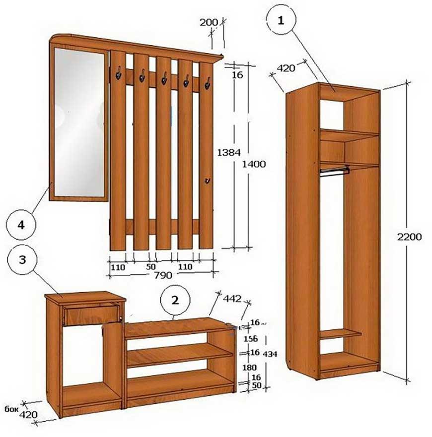 набор мебели из фанеры для небольшой прихожей зеркало и вешалка